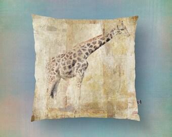 Giraffe Throw Pillow   Rustic Outdoors Wild Animal Print Neutral Colors   Modern Home Decor