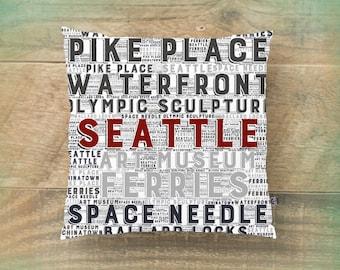 Seattle Throw Pillow Washington State's Sightseeing Typography Modern Home Decor