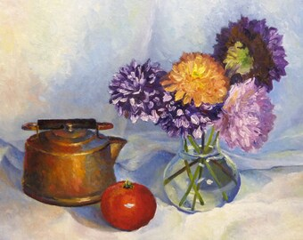 Dahlia's for Home Original Still Life Oil Painting on Canvas