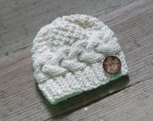Baby hat with coconut button Knit Cable Girl Hat Newborn Coming Home Outfit Boy Girl Knit Hat, Knit Boy Hat Toddler winter Hat Photo Prop