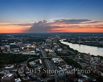 Boston Skyline with Fenway Park, sunset in Boston, baseball, Red Sox