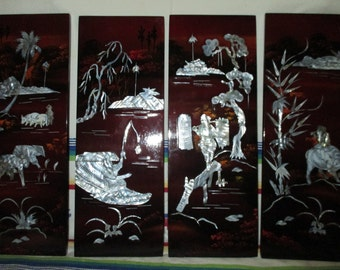 Vintage Set of 4 Asian Lacquer Wall Panels Inlaid MOP Abalone Village Scene