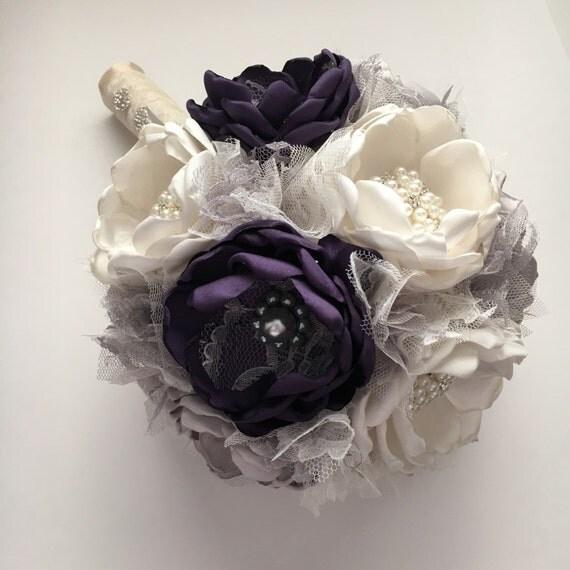 Fabric Wedding Bouquet Dark Purple Silver And Cream
