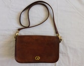 Vintage Coach Brown Leather Cross-body Messenger Shoulder Bag Purse Handbag