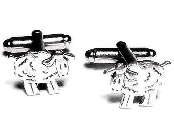 SALE Silver Sheep Cufflinks, Men's Handcrafted Woolly Lamb Shepherd Animal Cuff Links- Groom Wedding Prom Gift for Man