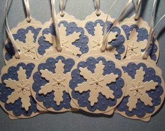 Set of 8 Snowflake Christmas Tags