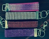 Blinged out Jeweled Ribbon Key Fobs / Key Ring Wristlet / Backpack ID