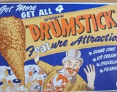 Vintage Ads, Vintage Circus, 1950's Advertisements, Drumstick Ice Cream Advertising Poster,  Print Ads