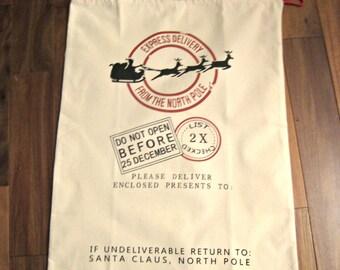 Monogrammed Santa Sack Personalized Embroidered Santa Sack Gift Bag