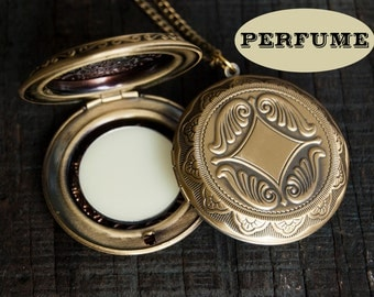 Perfume Locket Necklace with Solid Scent - Victorian Gold Brass - Choose Your Scent