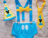 Mickey Mouse Birthday cake smash outfit suspenders baby blue costume clubhouse I am one 1st diaper cover bowtie chevron Hat 12 18 24 toddler