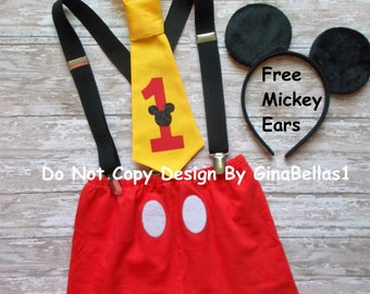 Mickey Mouse Birthday cake smash costume outfit SHORTS clubhouse FREE ears suspenders I am One Two 1st 2nd 3rd first tie 12 18 toddler