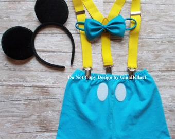 Baby Mickey Mouse outfit Birthday cake smash yellow suspenders blue bow tie FREE Ears clubhouse SHORTS optional Hat 12 18 24 toddler SALE