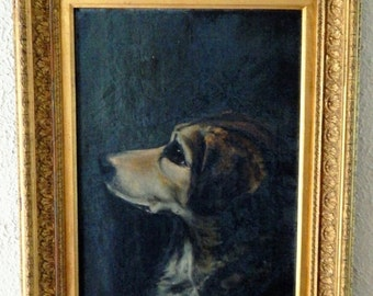 Sale Antique 19th C. European Oil Painting Portrait of a Dog Signed 1880 Period Gold Gilt Frame Home Decor