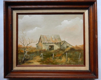 Vintage Rustic Barn Landscape Oil Painting on Canvas R. Dougherty 1981 (Signed) Art