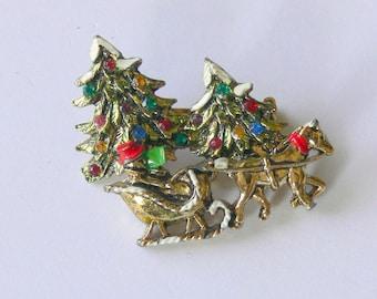 christmas brooch with rhinestones
