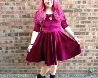 Wine Velvet Skater Dress, Made To Order