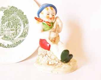Vintage China Figurine Boy with Banjo Mandolin Country Singing Boy Cottage Collectable European Child  Statue Figurine Occupied Japan