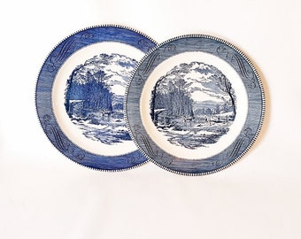 Vintage Large Blue White Transferware Serving Plates Currier Ives Large Round Chop Plates Getting Ice Platters Plates Currier Ives Platters