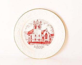 Vintage Historical Decorative Plate Upstate NY Canandaigua NY Plate Commerative Plate First Methodist Church 1816 Red White Plate