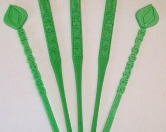 Set of Green Swizzle Stcks - Vintage Barware