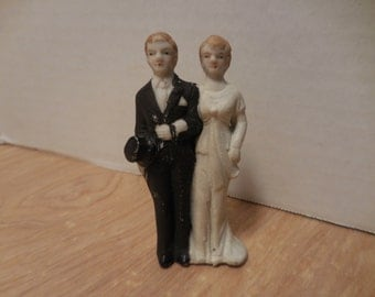 Vintage Bisque Bride and Groom Cake Topper 30's-40's