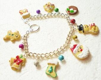 Christmas Cookie Charm Bracelet.  Polymer clay.