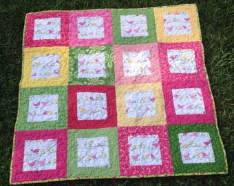 CLEARANCE - Little Birds on a Wire Baby Girl Quilt - Birds, Pink, Green, Yellow