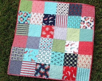 Sail Away Baby Quilt, Baby Blanket, Car Seat Quilt or Wall Hanging - Daysail by Bonnie and Camille