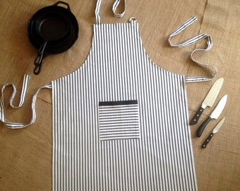 Black Pinstripe Apron with Extra Long Ties. Adjustable Full Apron 100% Cotton.
