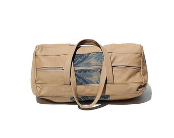 Tan Leather & Tapestry Weekend Travel Bag