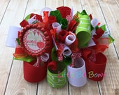 Nautrally Sweet Red Apple Funky Loopy Bow with Bottle Cap Embellishment- Red, Green, White and Brown
