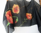 Poppies scarf. Hand painted floral scarf. Red poppies. Art Flowers Silk Scarf. Black scarf. Painted scarf. 18x71 in. Long Designer Scarf.