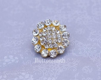 5 to 20 Piece Crystal Rhinestone Buttons  (20mm) RS-012 in gold finish - Perfect for Wedding Pillows hair pins shoe clips embelishments