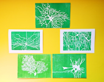 Neuroscience Card Set.  Neuron Note Cards Set. Set of Cards, Neurology, Psychology Cards. Brain Surgeon Print Set. Ramon y Cajal Art Prints