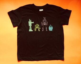SALE Robots T-Shirt. 65% OFF Children Science Clothing. Robot T Shirt. Hand Printed Kids Tee. Robotics Engineer. Science Fiction Nerd