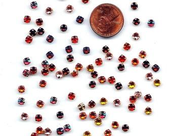 100 4mm Sew On Rhinestone Rose Montees Fiery Assortment