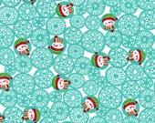 Fat Quarter Christmas Fabric for quilt or craft Michael Miller Man Flakes in Aqua Fat Quarter