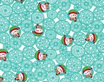 Michael Miller Christmas Fabric by the yard Man Flakes in Aqua 1 yard