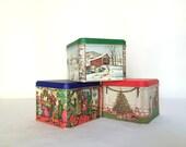 Vintage Potpourri Press Tin Holiday Christmas Metal Canister, set of three