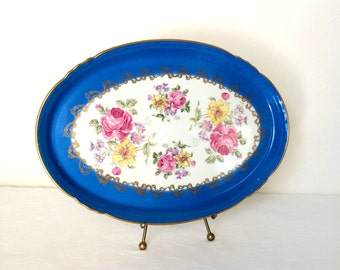 French Limoges Hand Painted Vanity Tray Blue Oval France