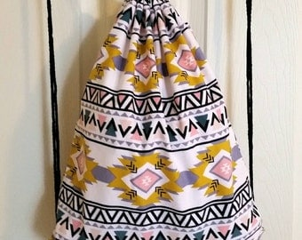 Aztec Corduroy Drawstring Backpack - Adult size - Ready to ship