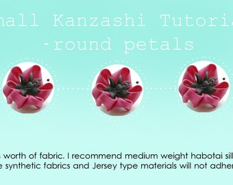 Kanzashi Tutorial - Round Petals - Small Round Petalled Kanzashi Flower Tutorial - Fabric Flower Tutorial