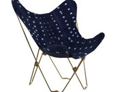 Indigo Butterfly Chair Cover and Gold Frame