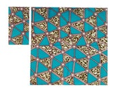 Turquoise DELTA African Wax Print Cloth Napkins Set of 2