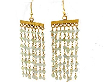 Green Beaded Earrings with Gold Over Sterling Silver -SAMPLE SALE (S25B8-32)