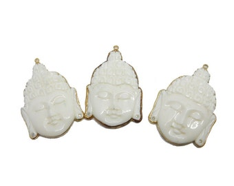10% SALE White Bone Carved Buddah Head Pendant with Electroplated 24k Gold Edge (S95B15-07)