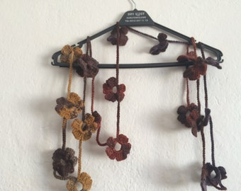 Crocheted Flowe Scarf Lariat,