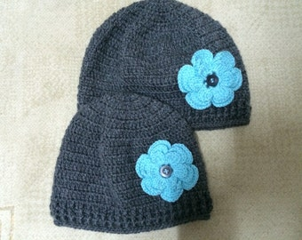 Mommy and Me Beanie Hat With Flower And Button