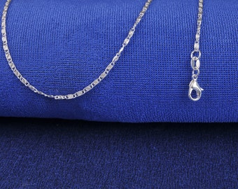 """925 Sterling Silver 22"""" 2mm Scroll Link Necklace"""